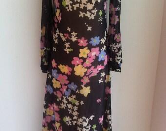 1960s Long Floral Silk  Georgette Hostess Dress Uk8/US4-6