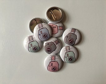 "Instax Mini 1"" pinback button - Polaroid -Pink - Gray - Seafoam - Blue"