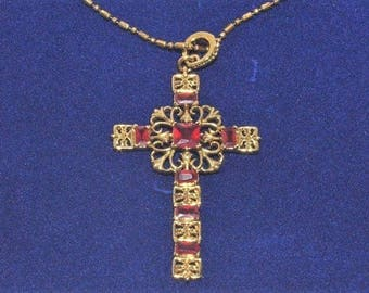 Jackie Kennedy Ruby Cross - Gold Plated, Simulated Gemstones, Box and Certificate