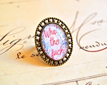 "Vintage brass adjustable ring ""What the fuck"" - girl power ring, feminist ring, what the fuck ring, cabochon ring, female rights ring"