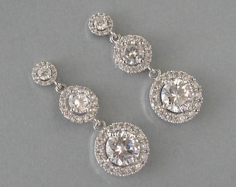 Cubic Zirconia, Rhodium Plated Over Brass, Bridal Earrings, White Gold Earrings, Round Earrings, Wedding Jewelry, Bridesmaids Gift - DK766