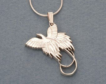 """Sterling Silver Bird Of Paradise Pendant and Necklace, Hand Cut New Zealand Bird Of Paradise Coin, 1 1/4"""" in Diameter, ( # 249S )"""