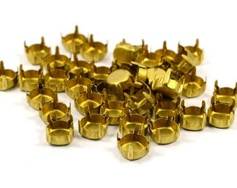 100 Pcs. Raw Brass SS39  Prong Setting Findings