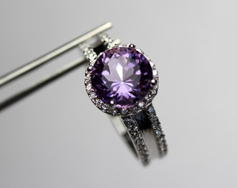 Perfect Genuine Amethyst in a Halo Accented Sterling Silver Ring
