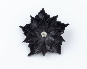 Leather Flower Brooch in Black, White and Dark Brown