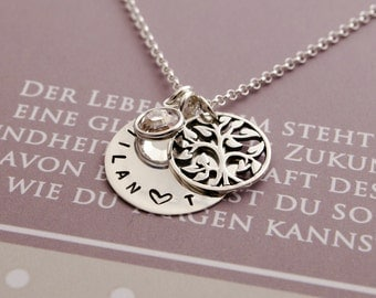 NAME NECKLACE WITH tree of life jewelry with engraved 925 Silver