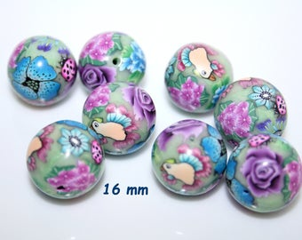 Polymer clay  flowered 16mm round beads / *Tropical Bird* / Sold by pair