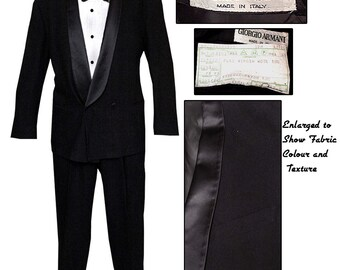 Like New Retro Armani Shawl Collar Tuxedo / Classic 50's Style Tuxedo / High Fashion Tuxedo /