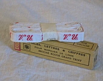 Laundry labels - woven French initials ribbon VU