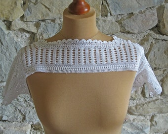 Crochet dress top yoke with sleeves - vintage French dressmaking supplies