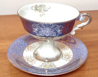 Sterling China Japan Luster Ware Cup & Saucer/Made in Japan/Pedestal Cup and Saucer/