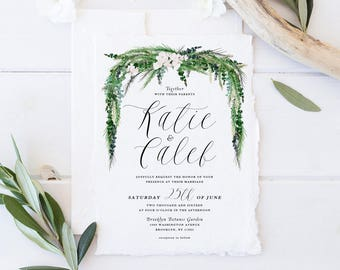 Wedding Invitation Set,Printable Wedding Suite,Floral Drop Spring Summer Wedding Invites, Green Leaves Branches, Natural White Flowers