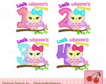 Look whoooo's turning 1-4, Birthday owl Machine Embroidery Design-4x4 5x5 6x6 inch