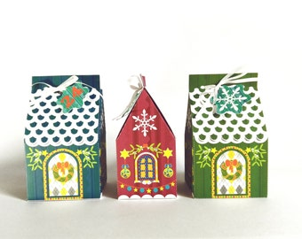 Christmas gingerbread paper house gift box advent calendar ready made - set of 6