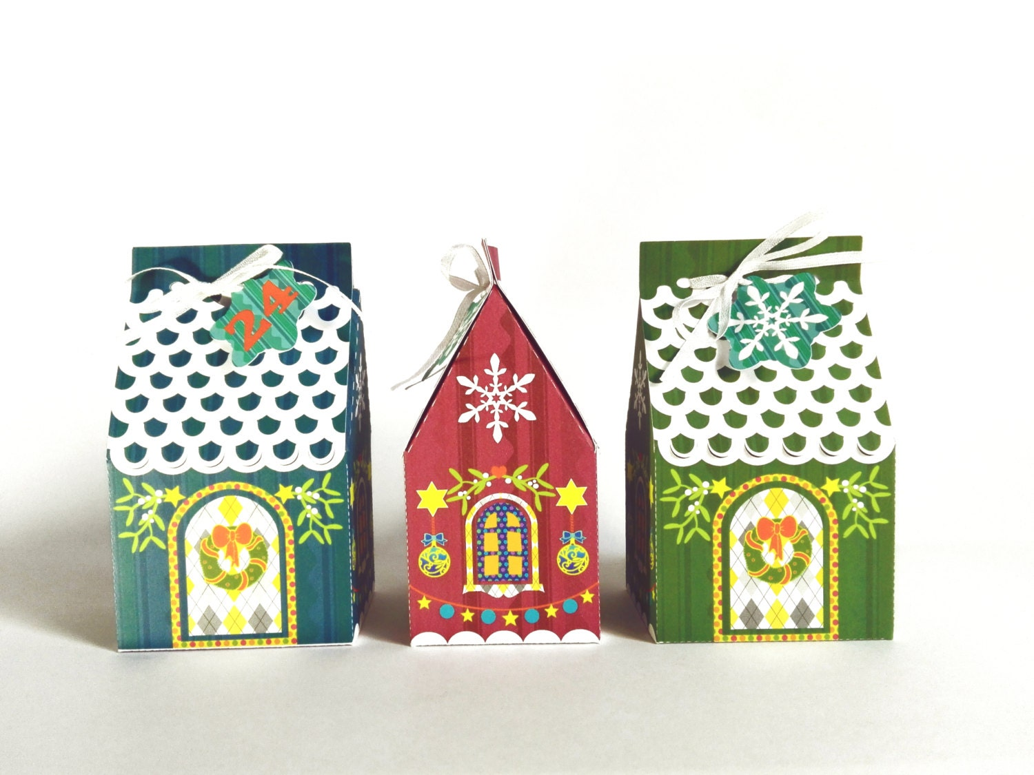 Christmas gingerbread paper house gift box advent calendar