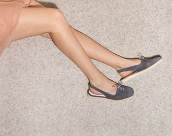Women's Flats, denim shoes, sling back shoes, women shoes, women sandals, gray shoes, gray flats, handmade leather shoes by Olive Thomas