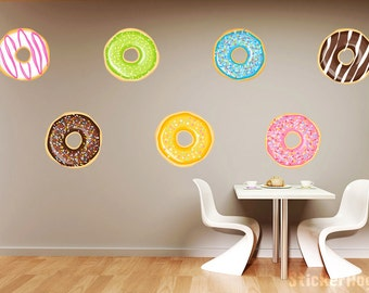 Donut Pattern Mini Wall Decals Graphic Vinyl Sticker Bedroom Living Room Coffee Shop Bakery Wall Home Decor