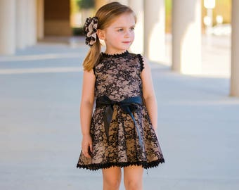 Tan and Black Bow Lace Dress