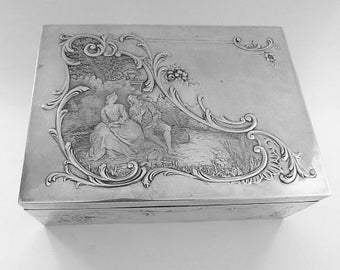 Art Nouveau 950 silver jewellery box / jewelry box table top cigarette box PAUL TALLOIS silver dressing table accessories