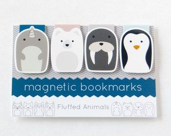 Magnetic Bookmark Set of 4 - Four Arctic Animal Bookmarks - Narwal, Polar Bear, Walrus, Penguin - Gifts for Book Lovers - Gifts for Her