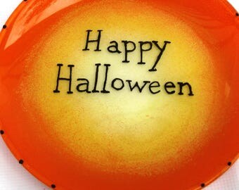 Happy Halloween plate, Halloween dish, candy corn painted plate, Halloween decor, small serving dish