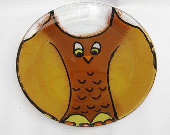 Owl plate, Owl dish, hand painted owl plate, small serving dish