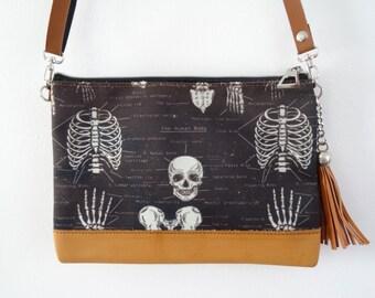 Anatomical Skeleton Black Handbag - Bag Clutch Ribs Skull Medical Doctor Nurse Horror Brown
