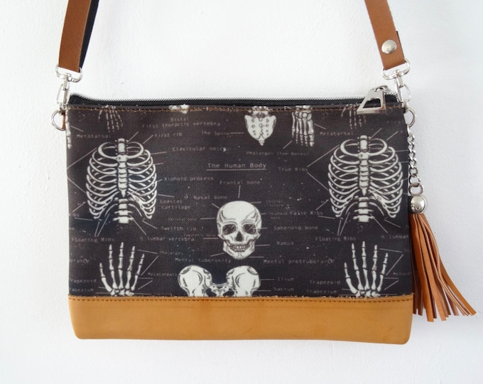 Anatomical Skeleton Black Handbag - Bag Clutch Ribs Skull Medical Doctor Nurse Horror Brown
