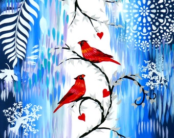 """paintings of birds, canvas painting, paintings, with, birds, blue, red, fresh, navy, royal, red cardinals, original gift, art, 29.5"""" x 23.5"""""""