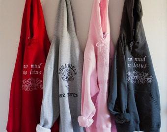 Embroidered Yoga Hooded Sweatshirt-Lotus Hoodie-Custom Yoga Sweatshirt-Yoga Hoodie