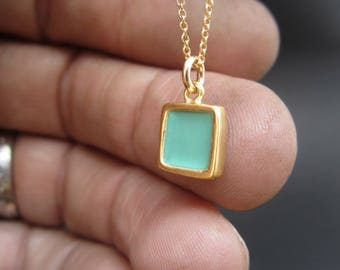 Reversible Enamel and Vermeil Mint Green Necklace