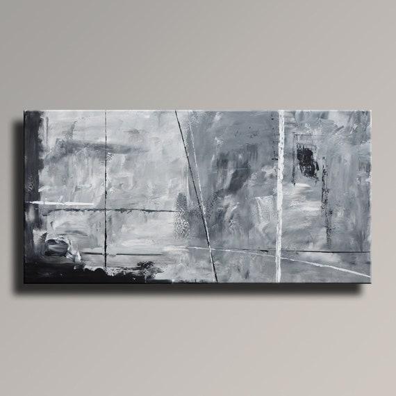 Tableau abstrait noir blanc gris peinture toile art abstrait for Peinture tableau blanc castorama