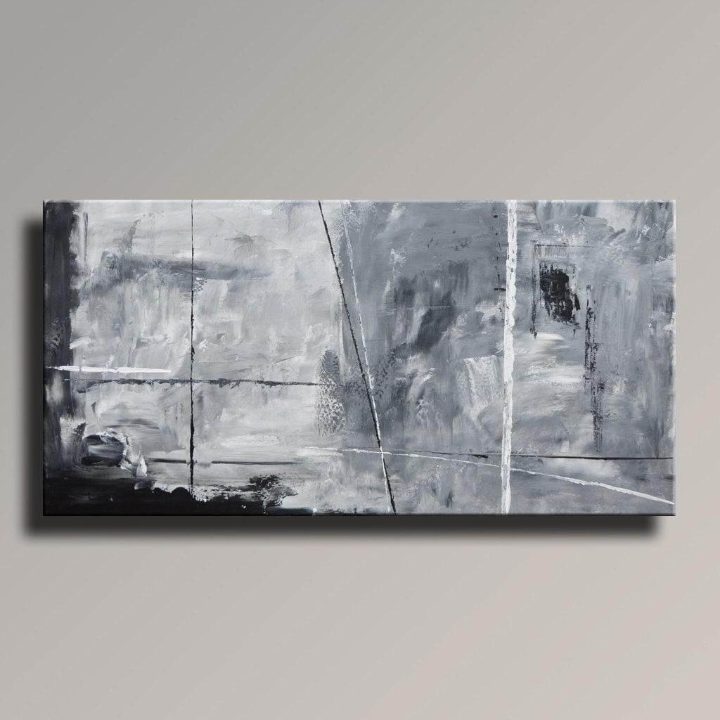 Tableau abstrait noir blanc gris peinture toile art abstrait - Tableau noir blanc gris ...