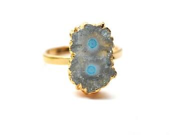 Solar Rustic Druzy Ring, 22k Gold Electroplated Gemstone Druzy Adjustable Ring 1pc (DZRG-12054)