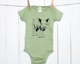Pig Piglet Organic Cotton Baby Bodysuit Infant Creeper One Piece Pet Farm Animal Rights