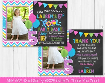 Girl Pool Party Birthday Invitation Or Thank You Card Any Age Digital File Printable Invites
