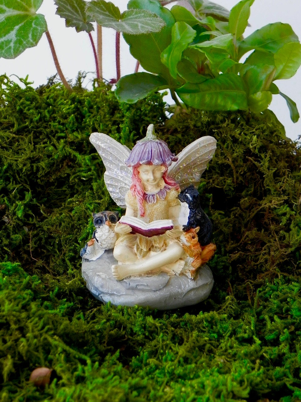 Fairy garden fairy reading book figurine miniature garden for Fairy garden figurines