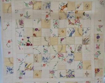 Vintage linen handmade patchwork cot quilt, baby blanket, lap quilt