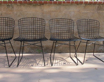 Mid century Modern Side chairs inspired by Henry Bertoia set of 4