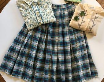 50s Plaid Skirt Cotton Pleated Summer VLV Rockabilly Skirt