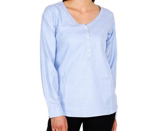 Blue Cotton Shirt for Woman Clothing, Collarless Top, Light Cotton Blouse, Gift for Her, Womans Shirts Comfort Fit, Blue Top for Girls Women