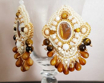 "Ethnic embroidered earrings, crystal, beads embroidery ""SANTIAGO"""
