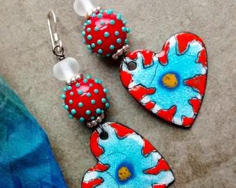 Fresh, funky polka Dotty heart dangle earrings, Artisan Handmade Co, unique lampwork beads, enamels, OOAK creative original Jewelry boho