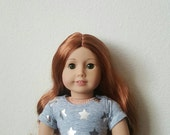 Cropped Tee for 18 inch dolls by The Glam Doll - Grey with Silver Stars