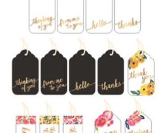 Everyday Floral and Gold Foil Cardstock Gift Tags | All Occasion Gift Tags | Floral Gift Tags