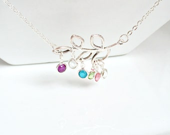 Birthstone Necklace, Branch Necklace, Personalized Branch Necklace, Family Jewelry, Mom Gifts, Christmas Gifts, Layering Necklace, UK Seller