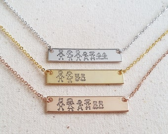 Family Bar Necklace - Hand Stamped - Personalized Jewelry