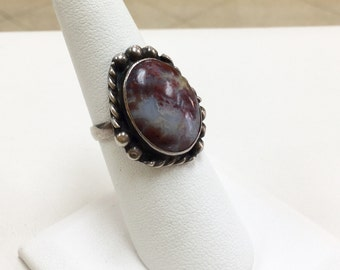Vintage Sterling Silver Ring With Turquoise !!!!  Size   7 US