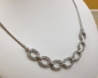 Vintage 925 Sterling Silver Necklace With Small Cubic Zirconia!!!