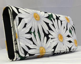 DAISIES print handmade checkbook style women's wallet